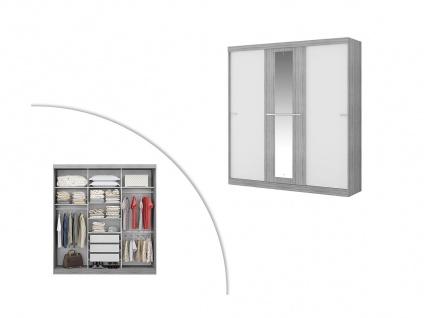 Kleiderschrank DIDDA - 3 Schiebetüren - Grau & Weiß