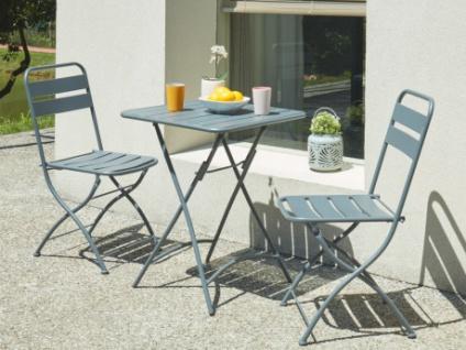 Garten Essgruppe Metall MIRMANDE - 1 Tisch & 2 Stühle - Anthrazit