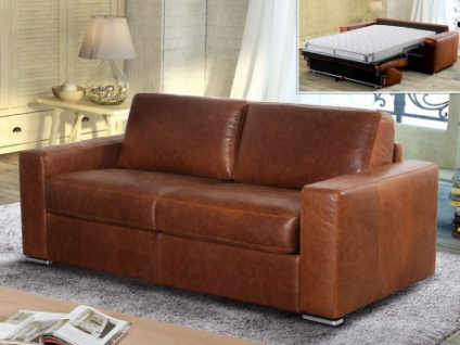 Schlafsofa Leder Vintage Look Express Bettfunktion mit Matratze 3-Sitzer Delectea