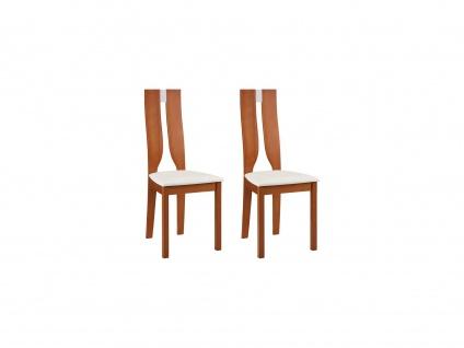 Stuhl 2er-Set SILVIA - Buche massiv - Kirschbaumfarben & Weiß