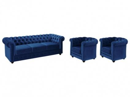 Couchgarnitur 3+1+1 Samt Chesterfield ANNA - Dunkelblau