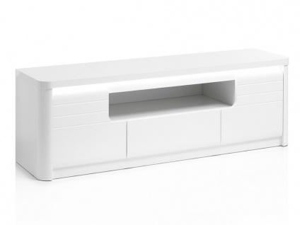 TV-Möbel mit LED-Beleuchtung PERCEPTION - 2 Türen & 1 Schublade - 170 cm - Weiß