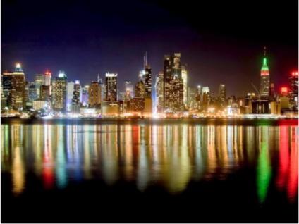 Kunstdruck Leinwand Skyline - 24 LEDs - 85x113cm