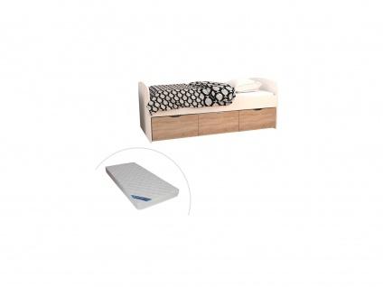Bett LOUANE - 2 Schubladen & 1 Bettkasten - 90 x 190 cm - Weiß & Eiche + Matratze