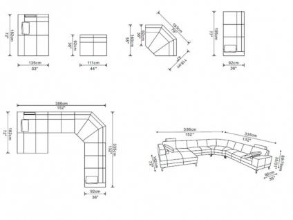 XXL Wohnlandschaft Leder U-Form Donatello II - Braun - Ecke Links - Vorschau 5