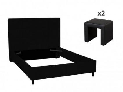 Sparset SORIA - 140x190cm - Schwarz: Bett + 2 Nachttische
