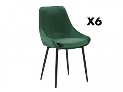 Stuhl 6er-Set Samt MASURIE - Grün