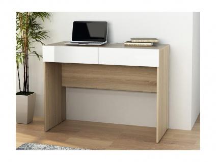 Schreibtisch VINTO - 2 Schubladen - Eiche & Weiß