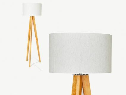 Stehlampe LORENS - Holz & Leinen - 45 x 45 x 153 cm - Weiß