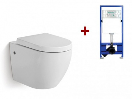 Wand WC Keramik Kenji - Weiß + Wand WC Element Tobi