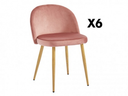 Stuhl 6er-Set Samt LILLY - Terrakotta - Vorschau 1
