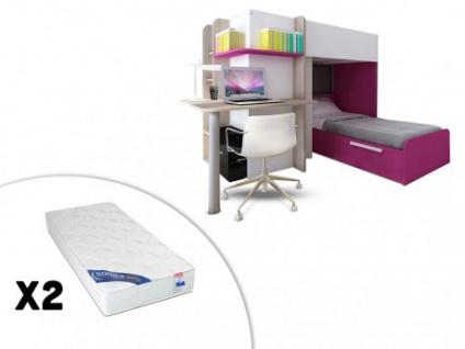 Set Hochbett mit Schreibtisch SAMUEL + Bettboden + 2 Matratzen ZEUS ...