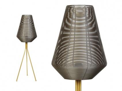 Stehlampe Tripod Ethno-Stil TOUCAN - Höhe: 104 cm - Natur- & Goldfarben