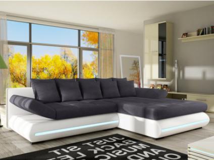 XXL-Ecksofa Big Sofa Schlafsofa Stoff mit LED-Leiste Mattias - Weiß/Grau - Ecke rechts
