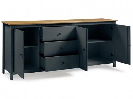 Sideboard NEWPORT - 3 Türen & 3 Schubladen - Blaugrau & Eiche - Vorschau 4