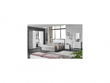 Bett mit LED-Beleuchtung URAM - 160 x 200 cm - Weiß & Beton-Optik