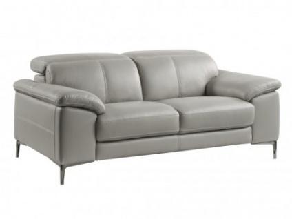 Relaxsofa 2-Sitzer Leder YORO - Grau