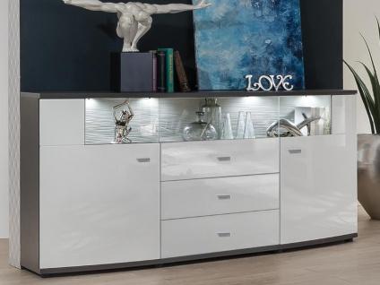 Sideboard mit LED-Beleuchtung SALY - 3 Schubladen & 2 Türen - Weiß - Vorschau 2