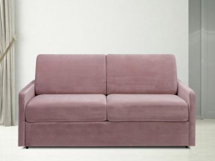 Schlafsofa 3-Sitzer Samt CALIFE - Rosa - Liegefläche: 140 cm - Matratzenhöhe: 14cm