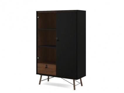 Vitrinenschrank FURESO - 2 Türen & 1 Schublade - Nussbaumfarben & Anthrazit - Vorschau 4