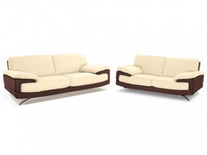 Ledergarnitur Emotion 3+2 - Luxusleder - Zweifarbig: Elfenbein-Braun