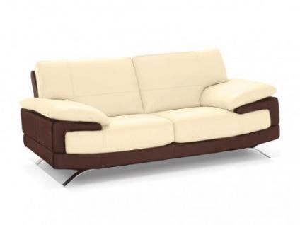 Ledersofa 2-Sitzer Emotion - Luxusleder - Zweifarbig: Elfenbein-Braun