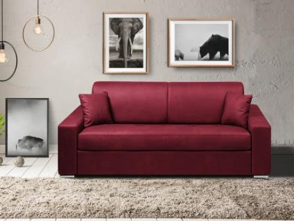 Schlafsofa 4-Sitzer Stoff EMIR - Bordeauxrot - Liegefläche: 160cm - Matratzenhöhe: 22cm