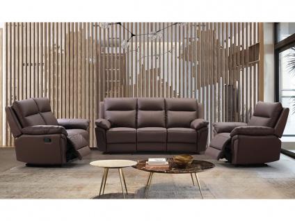 Relaxsofa 3-Sitzer PAKITA - Büffelleder - Braun