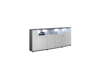 Sideboard mit LED-Beleuchtung SALY - 3 Schubladen & 2 Türen - Weiß - Vorschau 3