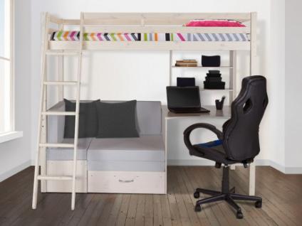 PARISOT Hochbett mit Schreibtisch GOLIATH + Sofa + Lattenrost - 90x200cm