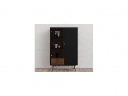 Vitrinenschrank FURESO - 2 Türen & 1 Schublade - Nussbaumfarben & Anthrazit