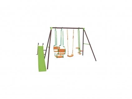 Schaukelgestell mit 3 Schaukeln & Rutsche LUDIVINE - Stahl - Mehrfarbig - B363 x T188 x H196 cm