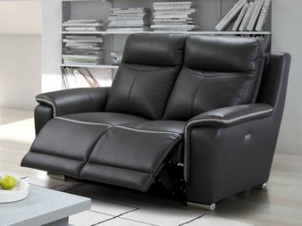 Relaxsofa Leder elektrisch 2-Sitzer Paosa - Anthrazit mit hellgrauer Ziernaht