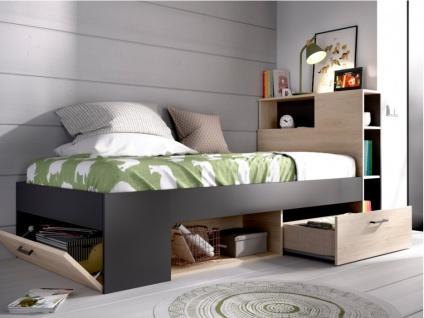 Bett mit Stauraum & Schubladen LEANDRE - 90x190 cm - Eiche & Anthrazit - Vorschau 2