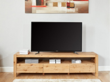 TV-Möbel Massivholz OLINKA - 3 Schubladen