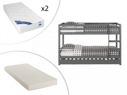 Set Etagenbett Ausziehbett Massivholz ANICET + Lattenrost + 3 Matratzen - 2x90x200cm & 90x190cm