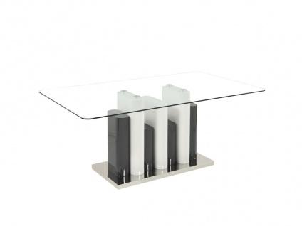 Esstisch BELEM - Glas & Stahl - Weiß & Grau
