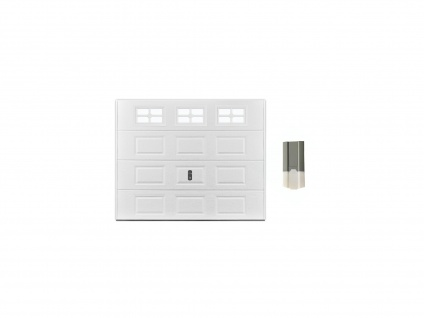 Set Sektionalgaragentor mit Kassettenmotiv SPEOS - mit Fenstern + Torantrieb ECO LINE