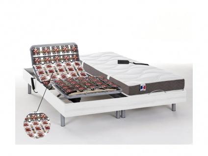 Matratzen elektrischer Lattenrost 2er-Set mit Tellermodulen 100% Latex JUPITER - OKIN-Motoren - Weiß - 2x80x200cm