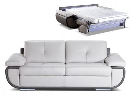 Schlafsofa mit Matratze 3-Sitzer ORGULLOSA II - Luxusleder - Grau