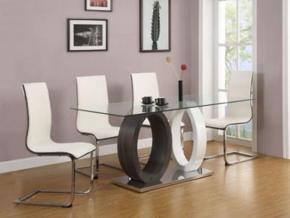 Essgruppe AYANE: Esstisch & 4 Stühle - Grau/Weiß