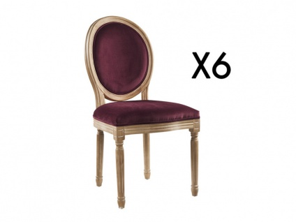Stuhl 6er-Set Samt LOUIS XVI - Pflaume