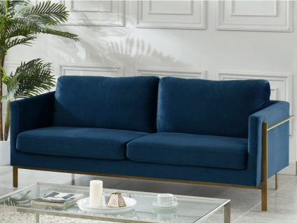 3-Sitzer-Sofa Samt BAROU - Blau