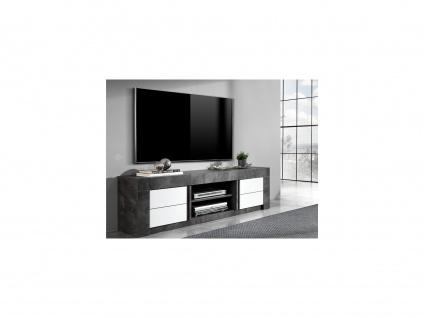 TV-Möbel ESSIA - Schiefer-Optik & Weiß