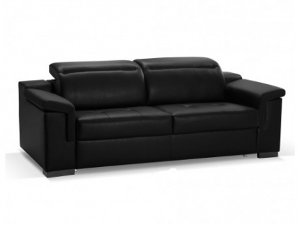 Schlafsofa Leder Express Bettfunktion mit Matratze 3-Sitzer Hippias - Luxusleder - Schwarz