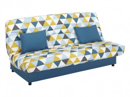 Schlafsofa Klappsofa mit Bettkasten Saloon - Motiv Triangle Blau - Vorschau 3