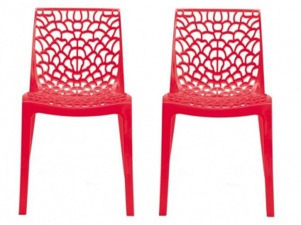 Stuhl 2er-Set stapelbar Diadem - Kunststoff - Rot