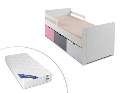 Set Kinderbett mit Schubladen PILOU + Lattenrost + Matratze ZEUS - 90x190cm - Rosa