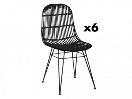 Stuhl 6er-Set Rattan Nasura - Schwarz