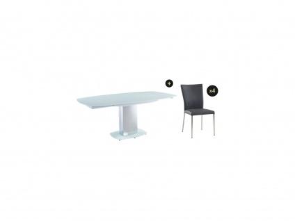 Essgruppe TALICIA: Esstisch & 4 Stühle - Weiß & Grau